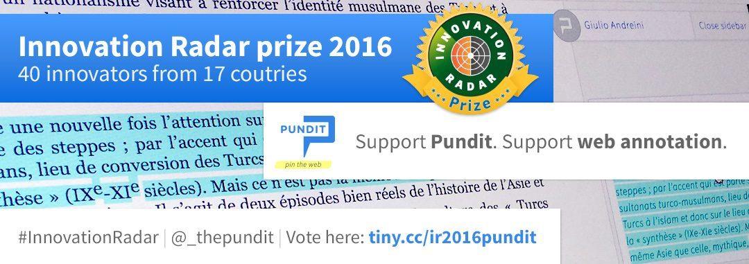 Pundit shortlisted for the Innovation Radar Prize 2016