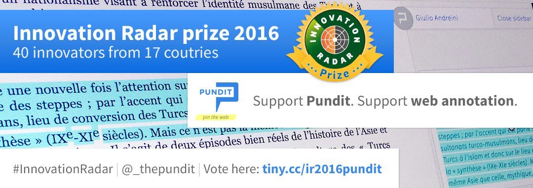 Pundit shortlisted for the Innovation Radar Prize 2016